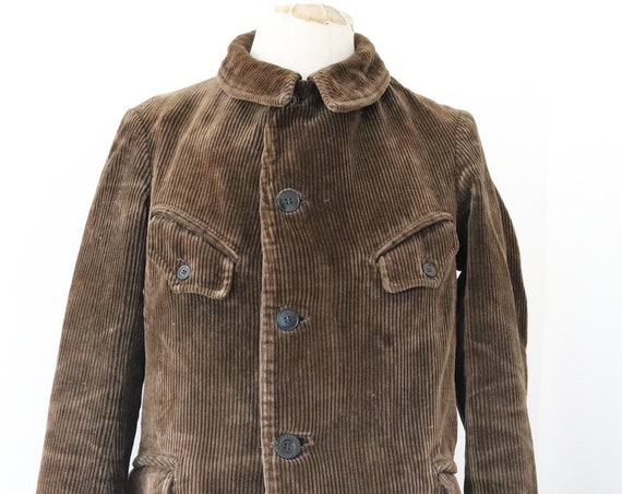 """Vintage 1950s 50s french brown heavyweight cord corduroy work chore jacket workwear 42"""" chest hunting farm"""