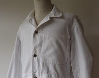 "Vintage 1960s 60s british white cotton twill overalls coveralls work workwear mechanics buckle cinch back 46"" x 42"" x 30"" rockabilly hotrod"