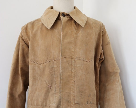 "Vintage 1950s 50s french tan brown canvas hunting jacket workwear chore 49"" chest work repaired sun faded"