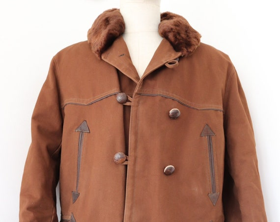 """Vintaeg 1950s 50s french dark brown cotton canvas Canadienne shearling sheepskin lined barnstormer jacket double breasted 48"""" chest mouton"""