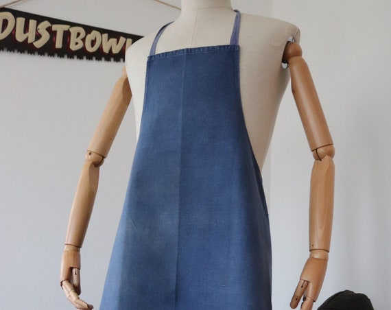 Vintage 1950s 50s french indigo blue bleu de travail work workwear vintner linen long apron pinny cooking chef bbq kitchen baking selvedge