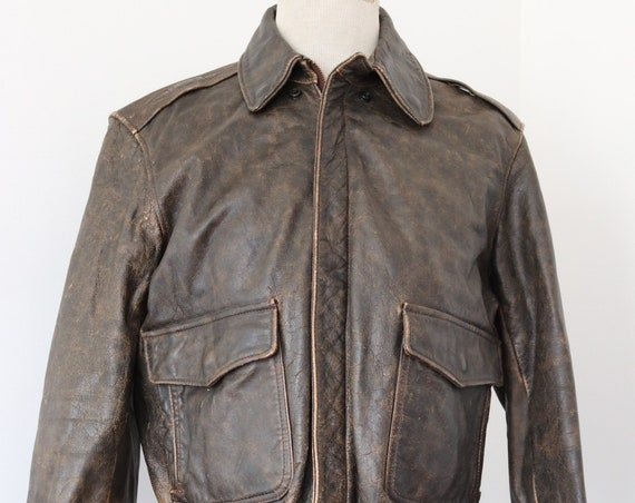 """Vintage 1980s 80s brown leather A2 style leather flight jacket 45"""" chest rockabilly"""