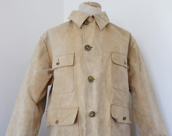 """Vintage 1950s 50s Akila french tan brown cotton canvas hunting jacket 48"""" chest workwear work chore sun faded"""