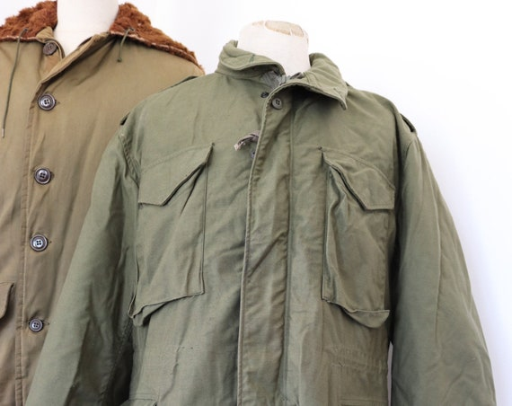 "Vintage 1980s 80s khaki green M-65 M 65 US army jacket with liner 50"" chest military OG-107"