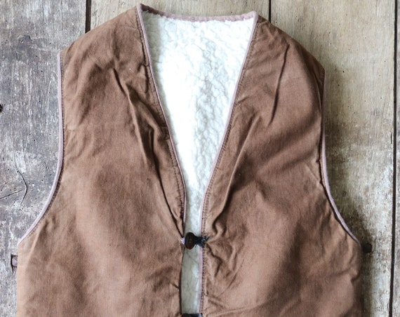 """Vintage 1960s 60s french brown cotton canvas canadienne vest waistcoat bodywarmer gilet 36"""" chest workwera work chore hunting shooting"""