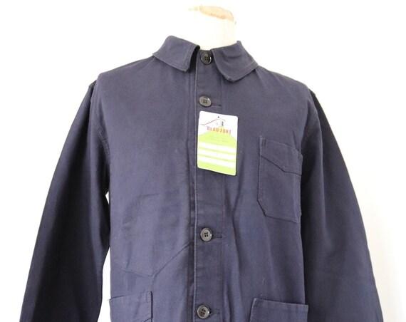 "Vintage french deadstock cotton twill deep indigo blue bleu de travail chore work jacket 42"" chest Le Beau Fort workwear"