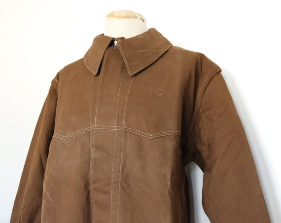 """Vintage 1960s 60s french brown cotton canvas SNCF train railway engineers work jacket workwear chore 52"""" chest XL"""