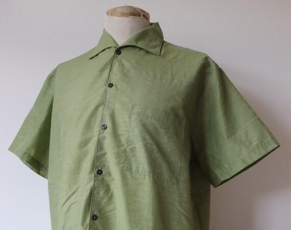 "Vintage 1950s 50s french green fleck nylon short sleeved summer shirt 52"" chest XL rockabilly"