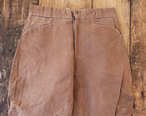 "Vintage 1950s 50s french brown canvas riding hunting breeches darned repaired sun faded 31"" x 24"" motorcycle plus fours"