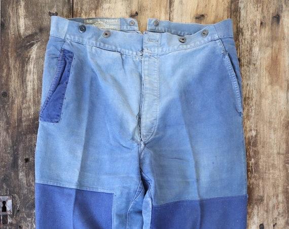 """Vintage 1950s 50s Le Mont french bleu de travail blue indigo moleskin chore work trousers pants buckle cinch back patched darned 36"""" x 27"""""""
