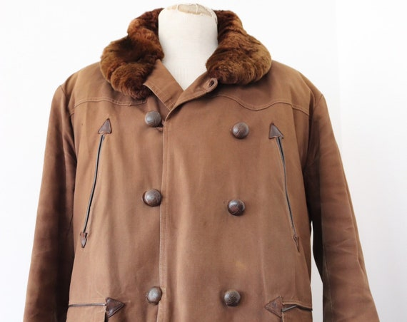 """Vintaeg 1950s 50s french dark brown cotton canvas Canadienne shearling sheepskin lined barnstormer jacket double breasted 46"""" chest mouton"""