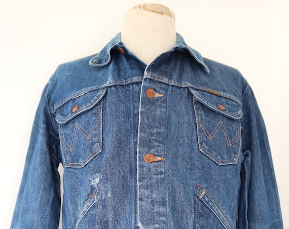 "Vintage 1980s 80s wrangler denim trucker jacket indigo 44"" chest western cowboy workwear chore"