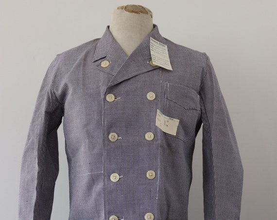 """Vintage 1960s 60s deadstock french blue white houndstooth check butchers jacket double breasted workwear work chore small 42"""" chest"""