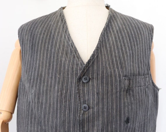 """Vintage 1950s 50s french grey black striped waistcoat vest cinch buckle back 46"""" chest darned repaired workwear work chore moleskin"""