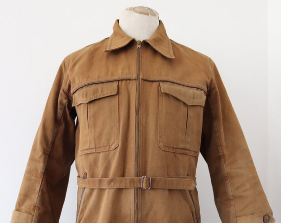 "Vintage 1960s 60s french brown cotton canvas hunting jacket belted waist workwear chore work 44"" chest"