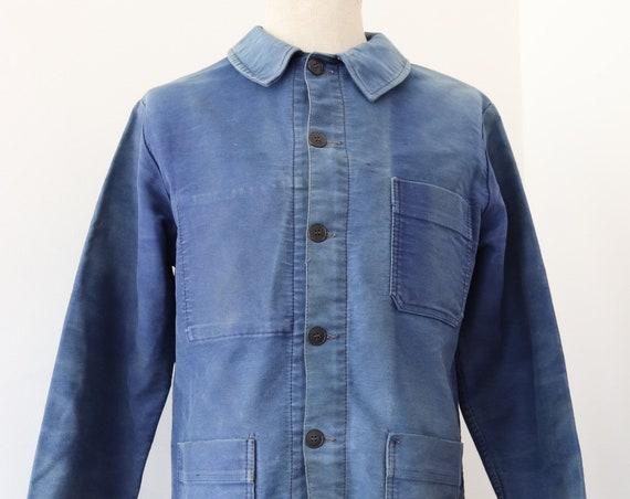 "Vintage 1960s 60s french bleu de travail blue moleskin chore work jacket workwear 42"" chest sun faded (3)"