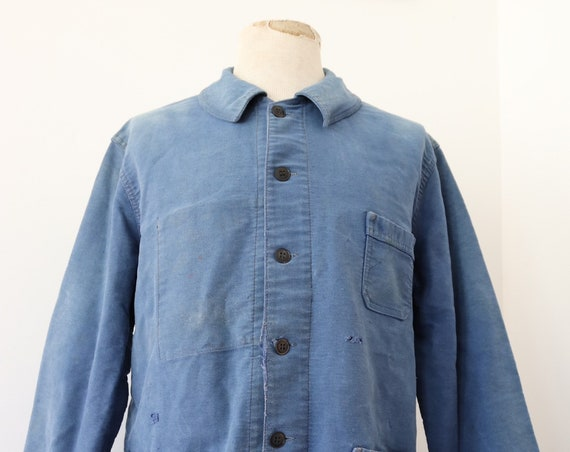 "Vintage 1960s 60s french bleu de travail blue moleskin chore work jacket workwear 46"" chest sun faded darned repaired (8)"