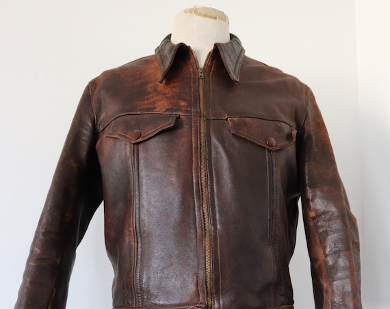 "RESERVED Vintage 1940s 40s French brown leather blouson cyclist jacket waist cinch zip up 40"" chest rockabilly wing tip collar"
