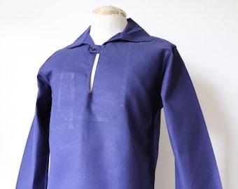 "Vintage 1970s 70s deadstock blue cotton twill smock top shirt pop over 40"" chest indigo workwear work chore fisherman fishing sailor"
