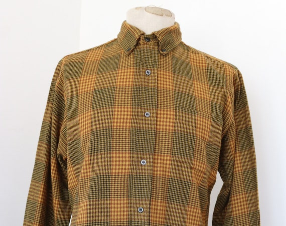 """Vintage 1960s 60s mustard brown yellow Sears Premiere shirt button down collar 47"""" chest Ivy League style mod made in USA"""