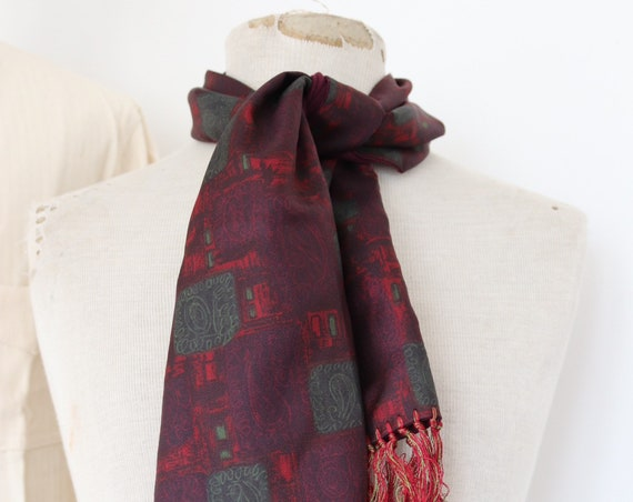 "Vintage 1960s 60s mens tassel tassled scarf mod dapper dandy burgundy red green acetate Tootal 10"" x 46"""