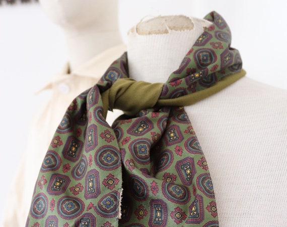 "Vintage 1960s 60s mens tassel tassled scarf mod dapper dandy red green acetate 8"" x 42"""