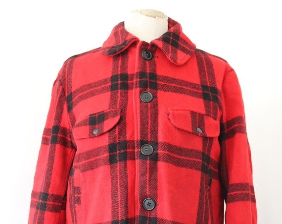 """Vintage 1960s 60s Carter's red black checked buffalo plaid wool hunting jacket rockabilly 46"""" chest Talon zipper"""