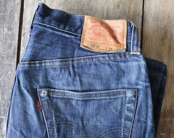 "Vintage Levis Levis Strauss LVC selvedge 501 XX blue denim jeans 30"" x 30"" workwear red tab big e made in USA faded hidden rivet"