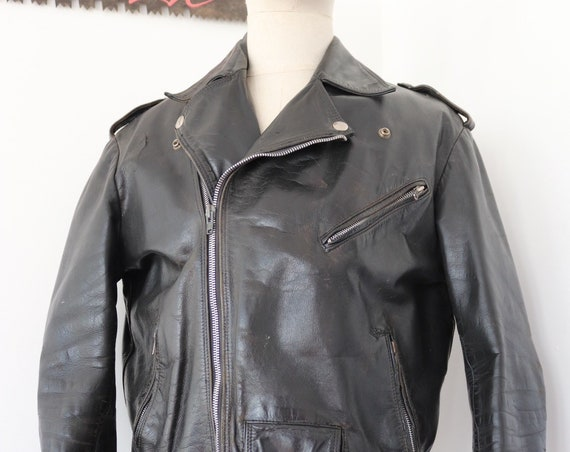 "Vintage 1970s 70s french black horsehide leather motorcycle biker jacket 44"" chest Marlon Brando belted"