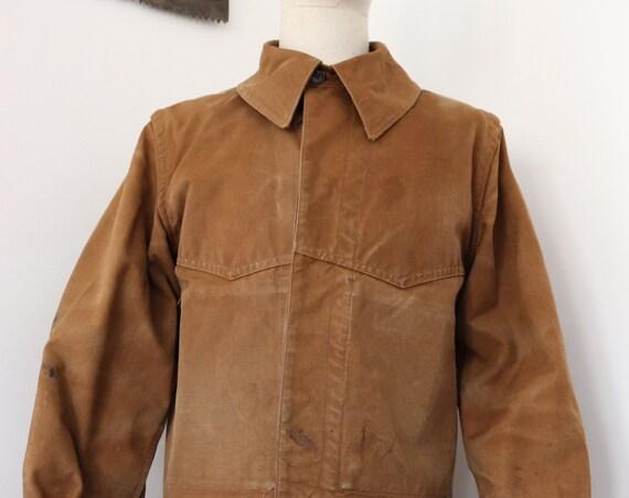 "Vintage 1960s french brown cotton canvas train engineer work workwear chore jacket 44"" chest"