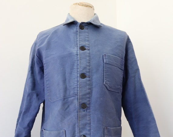 "Vintage 1960s 60s french bleu de travail blue moleskin chore work jacket workwear 41"" chest sun faded darned repaired (9)"