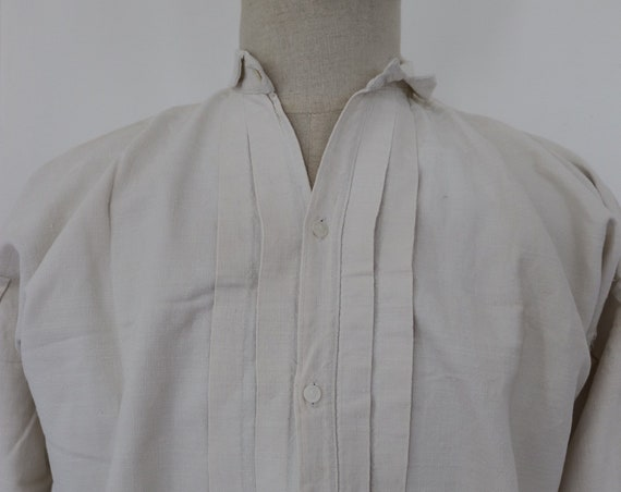 "Vintage 1900s French off-white linen dress shirt pleated pin tuck unisex indigo dye monogram 48"" chest"