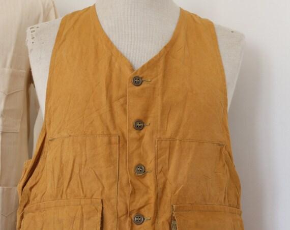 "Vintage 1980s 80s American tin cloth duck cotton hunting shooting vest Duxbak Utica 42"" chest"