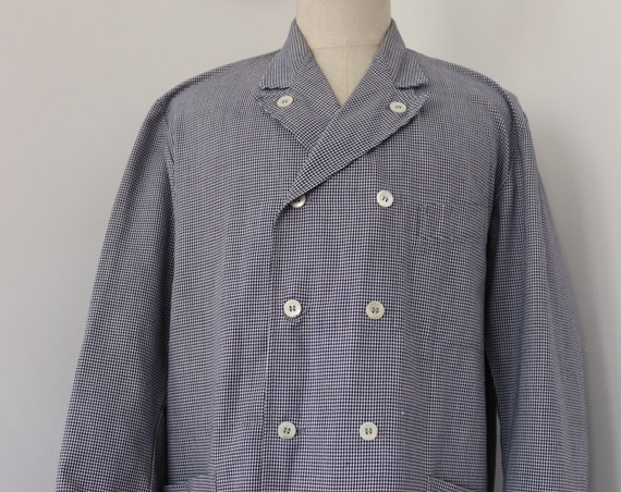 "Vintage 1960s 60s french blue white houndstooth check butchers jacket double breasted chore work workwear 49"" chest large"