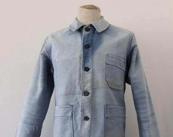 """Vintage 1950s 50s bleu de travail french indigo blue moleskin work chore jacket workwear 44"""" chest Le Mont St Michel"""