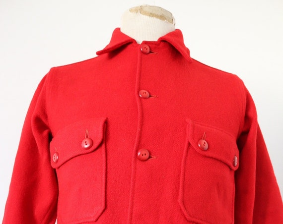 "Vintage 1960s 60s BSA boy scouts of america plain red wool camp shirt jacket rockabilly38"" chest"