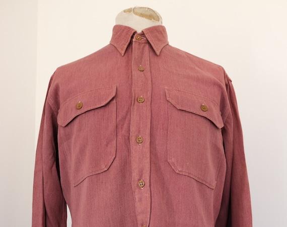 "Vintage 1950s 50s Manhattan pink overdyed rayon gabardine military shirt 46"" chest rockabilly"