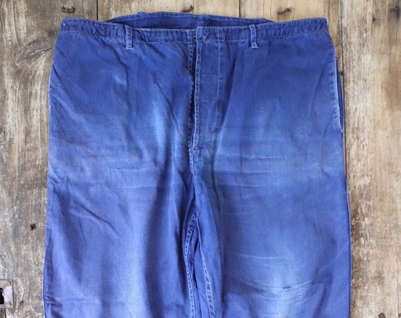 """Vintage french indigo blue bleu de travail cotton twill work chore trousers pants workwear button fly faded 36"""" x 26"""""""