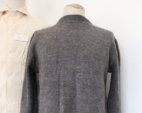 "Vintage 1950s 50s grey wool Swiss army military knitted jumper sweater crew neck 44"" chest"