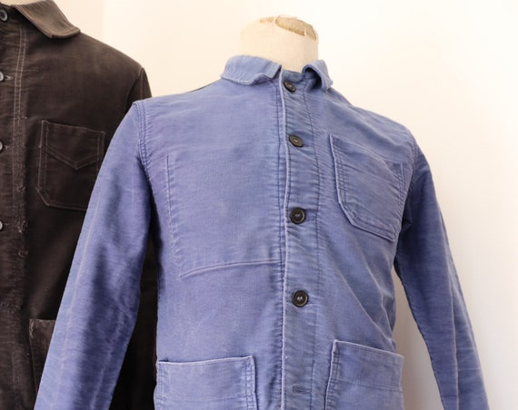 """Vintage 1950s 50s french bleu de travail blue moleskin chore work jacket workwear 37"""" chest sun faded darned repaired damaged project (4)"""
