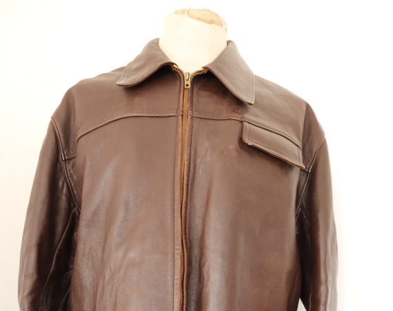 "Vintage 1950s 50s French brown chrome tanned leather Canadienne jacket zip up rockabilly 51"" chest car coat moleskin lining"