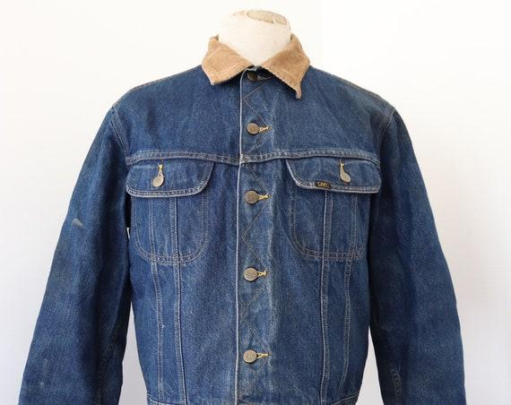 "Vintage Lee indigo blue blanket lined denim jacket 45"" chest workwear corduroy collar western cowboy made in canada"