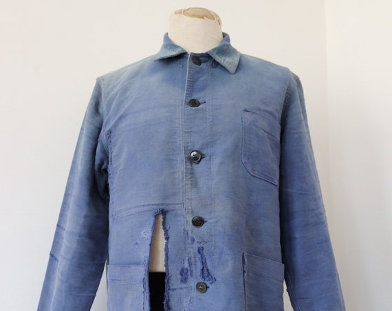 """Vintage 1960s 60s french blue bleu de travail moleskin jacket repaired darned repair sun faded 45"""" chest work chore workwear project"""