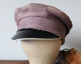 Vintage 1950s 50s french sun faded white blue bleu moleskin sailing fishing cap hat visor beret work workwear chore