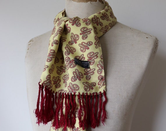Vintage 1960s 60s Tootal yellow burgundy red rayon tassled scarf mod dapper paisley