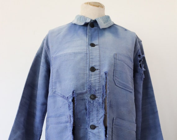 """Vintage 1960s 60s french blue bleu de travail moleskin jacket repaired darned repair sun faded 48"""" chest work chore workwear project"""