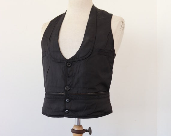 "Vintage 1930s 30s french waiters black silk cotton waistcoat vest buckle v notch back 34"" chest"