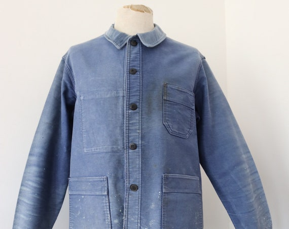 "Vintage 1950s 50s bleu de travail french indigo blue moleskin work chore jacket workwear 46"" chest Le Mont St Michel"
