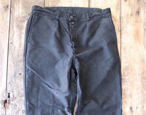 """Vintage french black moleskin chore work trousers pants button fly 34"""" x 31"""" workwear"""