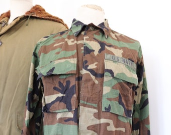 "Vintage 1990s 90s US Navy USN camo camouflage woodland field shirt jacket 43"" chest miltary (2)"